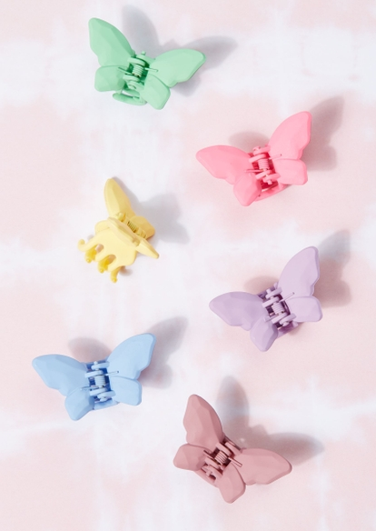 6-pack matte rainbow butterfly clips - Main Image
