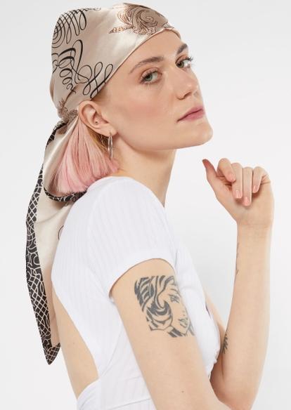 taupe swirl print satin hair scarf - Main Image
