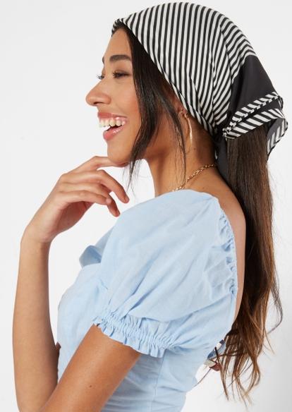 black striped print hair scarf - Main Image