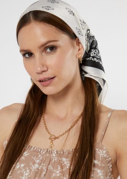 white bandana print hair scarf - Main Image