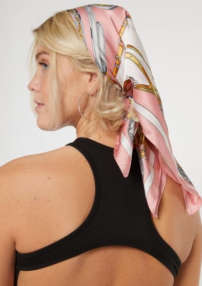 pink chain print hair scarf - Main Image