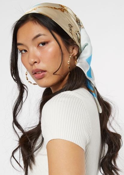 blue chain print hair scarf - Main Image