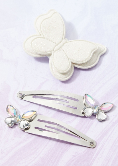 3-pack white sparkle butterfly barrette and clip set - Main Image