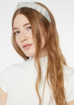 blue striped knotted headband - Main Image