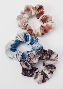 3-pack dark tie dye velvet scrunchie set - Main Image