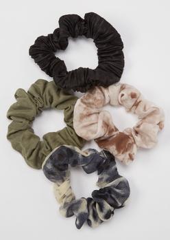 4-pack dark tie dye scrunchie set - Main Image