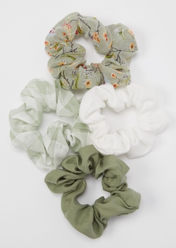 4-pack olive printed scrunchie set - Main Image