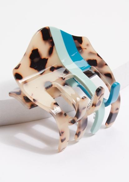 tortoise print teal striped claw hair clip - Main Image