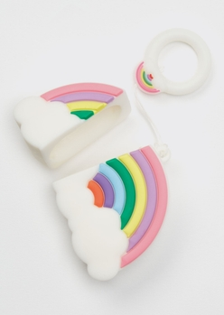 rainbow silicone wireless earbud travel case cover - Main Image