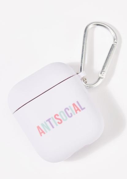 white antisocial wireless earbud case - Main Image