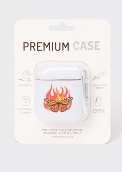 white butterfly flame wireless earbud case - Main Image