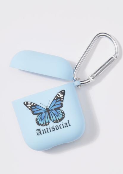 blue butterfly wireless earbud case - Main Image