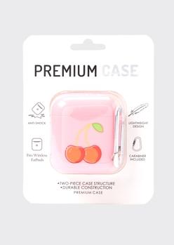 pink cherry print wireless earbud case - Main Image