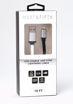 10-foot silver lightning to usb cable - Main Image