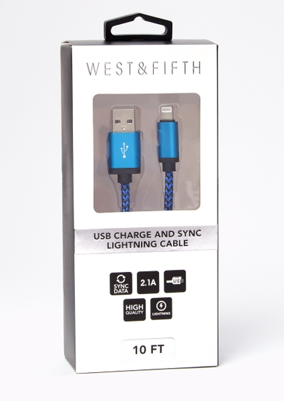 10-foot blue lightning to usb cable - Main Image