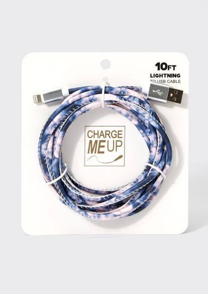 10-foot dark blue tie dye lightning to usb cable - Main Image