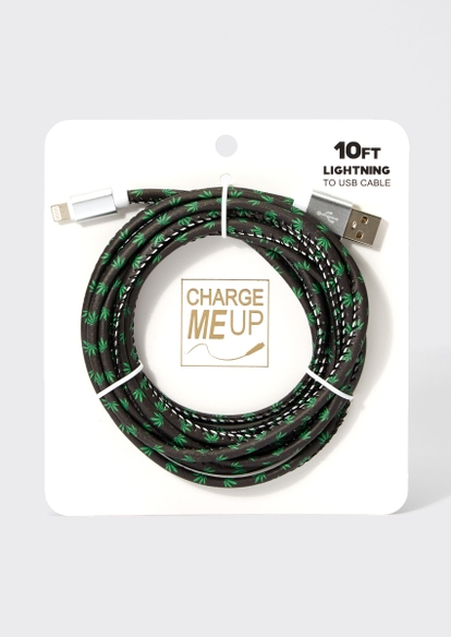 10-foot black weed print lightning to usb cable - Main Image
