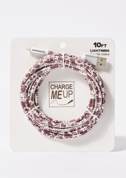 10-foot cow print lightning to usb cable - Main Image