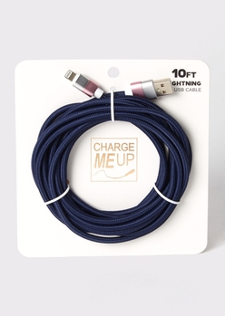 10-foot navy lightning to usb cable - Main Image