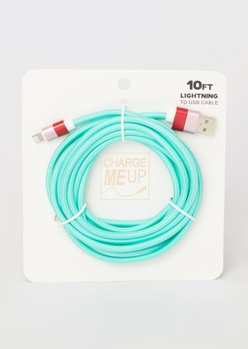 10-foot teal lightning to usb cable - Main Image