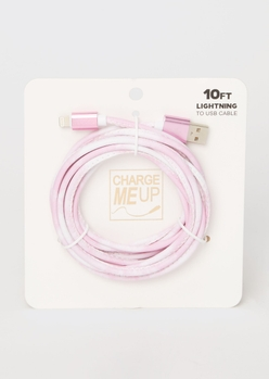 10-foot pink tie dye lightning to usb cable - Main Image