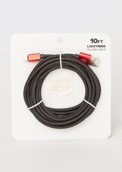 10-foot black carbon fiber lightning to usb cable - Main Image