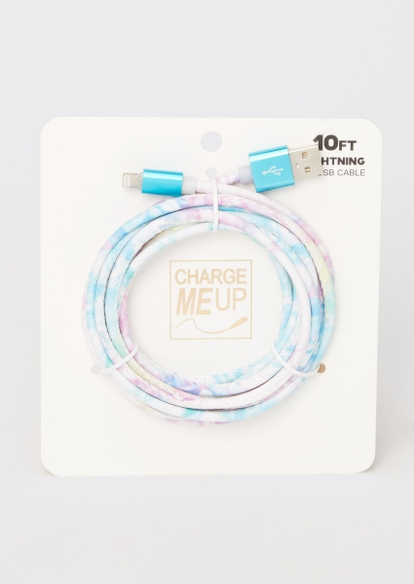 10-foot cotton candy tie dye lightning to usb cable - Main Image