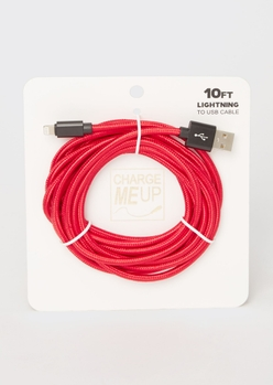 10-foot red carbon fiber lightning to usb cable - Main Image
