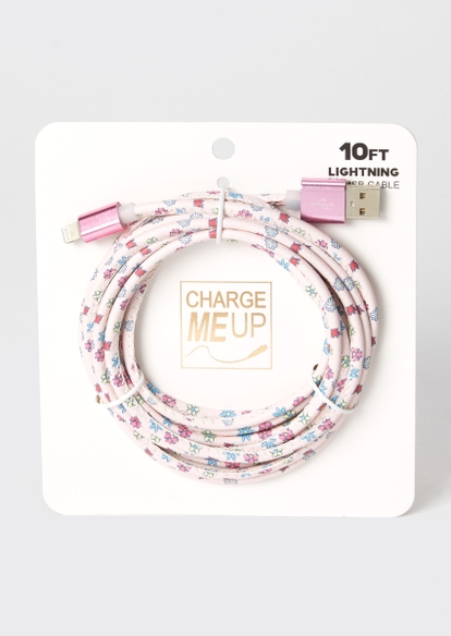 10-foot floral print lightning to usb cable - Main Image