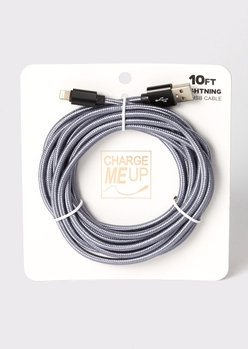 10-foot gray carbon fiber lightning to usb cable - Main Image