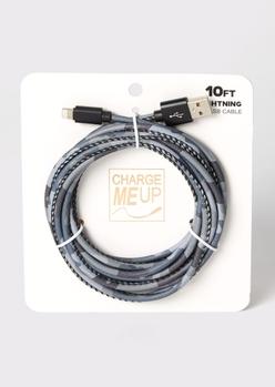 10-foot gray camo print lightning to usb cable - Main Image
