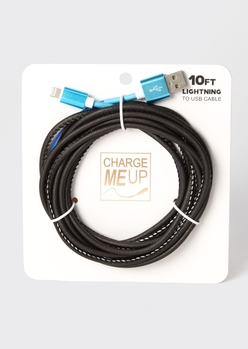10-foot blue flame print lightning to usb cable - Main Image