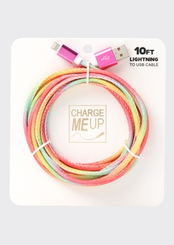 10-foot pastel rainbow glitter lightning to usb cable - Main Image