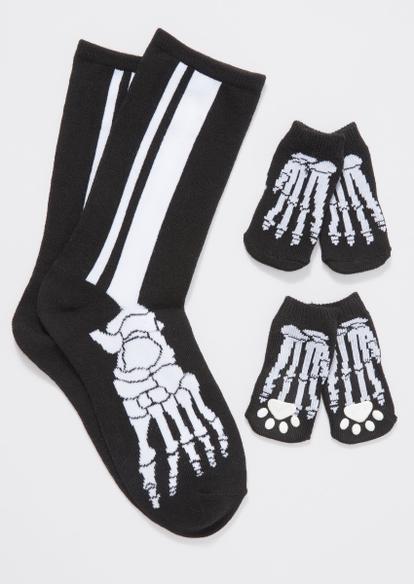 black skeleton print matching pet sock set - Main Image