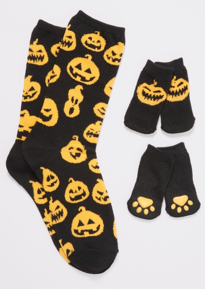 black pumpkin print matching pet sock set - Main Image
