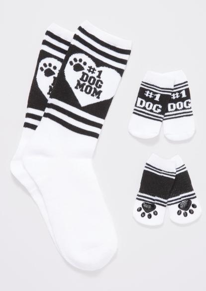 white dog mom matching pet sock set - Main Image