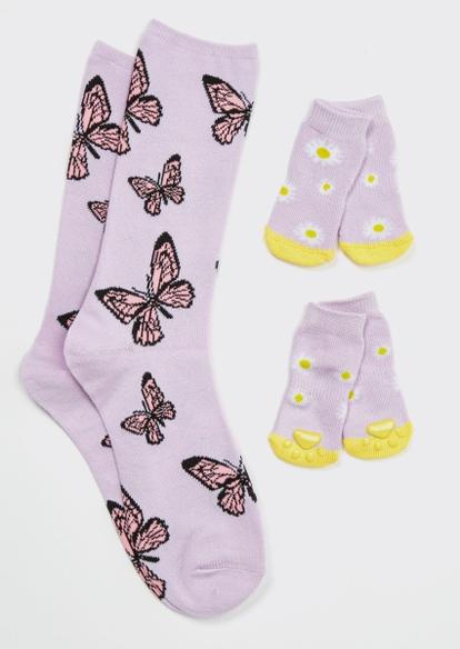 butterfly daisy print matching pet sock set - Main Image