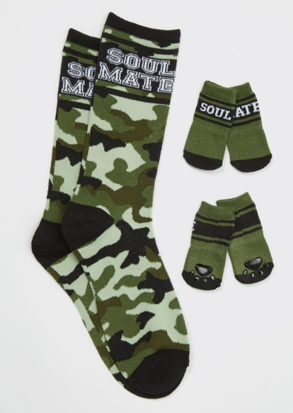 camo soulmate matching pet sock set - Main Image