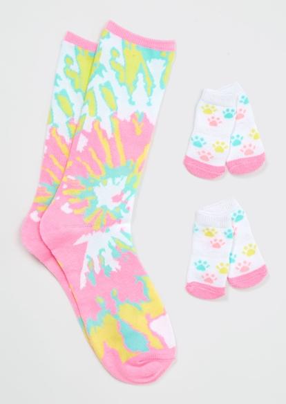 tie dye paw print matching pet sock set - Main Image