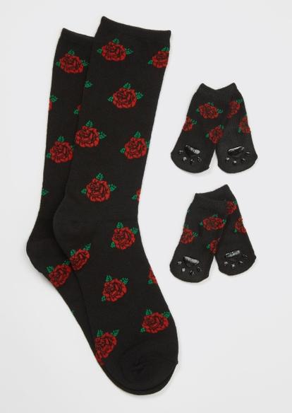black rose print matching pet sock set - Main Image