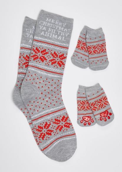 gray merry xmas matching pet sock set - Main Image