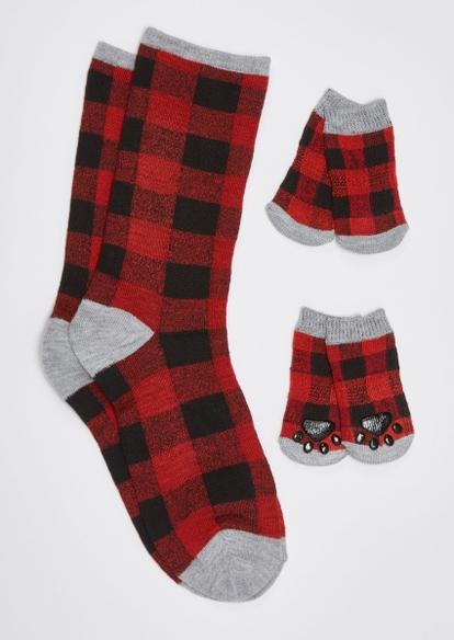 red buffalo print matching pet sock set - Main Image
