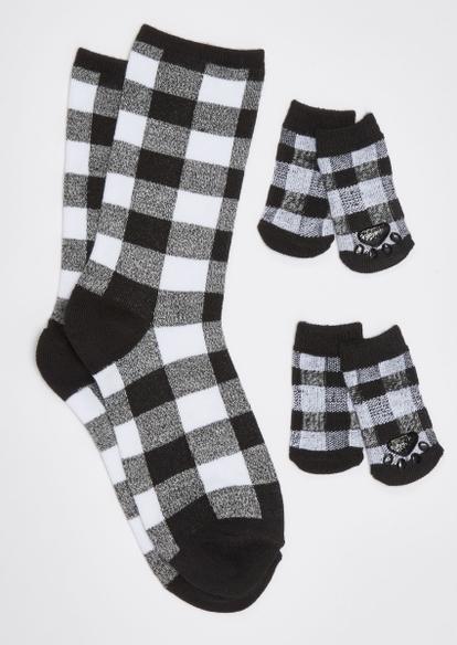 black buffalo print matching pet sock set - Main Image