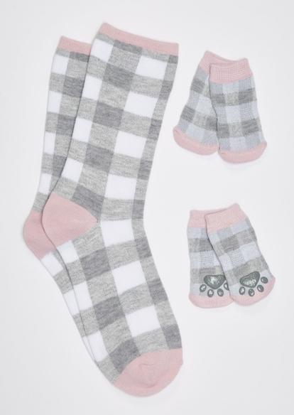 gray buffalo print matching pet sock set - Main Image
