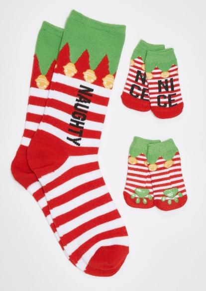 red naughty nice matching pet sock set - Main Image