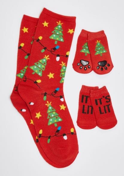 red it's lit matching pet sock set - Main Image