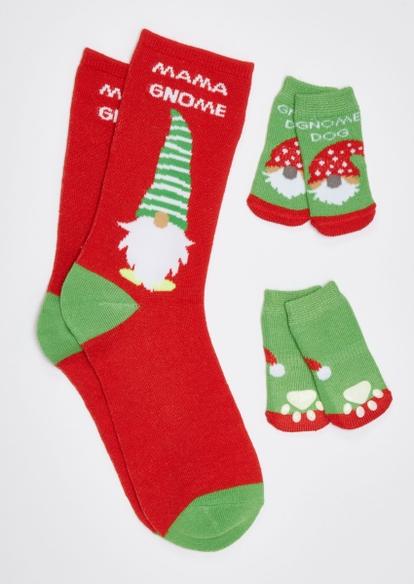 red mama gnome matching pet sock set - Main Image