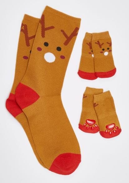 brown reindeer matching pet sock set - Main Image