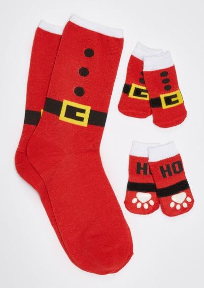 red santa suit matching pet sock set - Main Image