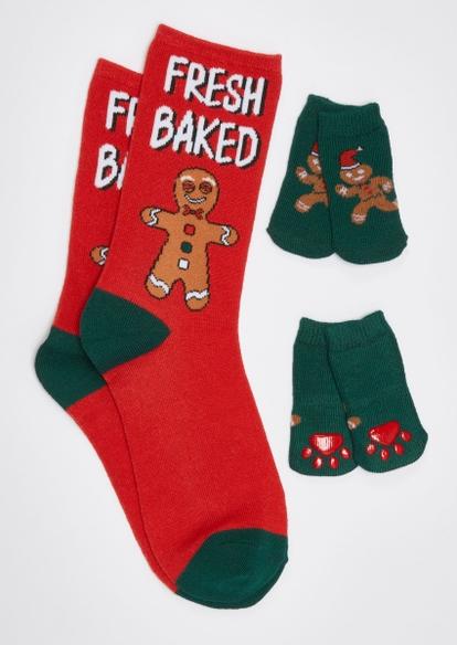 red fresh baked gingerbread matching pet sock set - Main Image